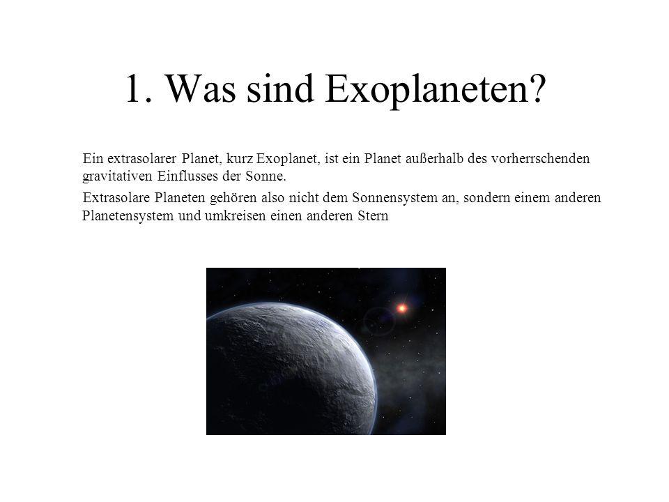 1. Was sind Exoplaneten Ein extrasolarer Planet, kurz Exoplanet, ist ein Planet außerhalb des vorherrschenden gravitativen Einflusses der Sonne.