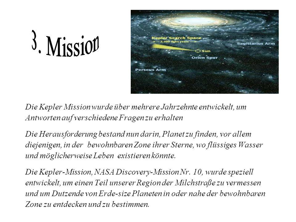 3. Mission Die Kepler Mission wurde über mehrere Jahrzehnte entwickelt, um. Antworten auf verschiedene Fragen zu erhalten.