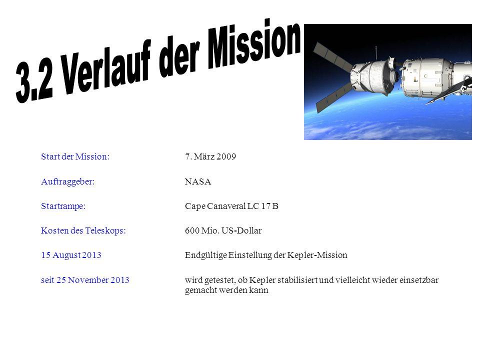 3.2 Verlauf der Mission Start der Mission: 7. März 2009