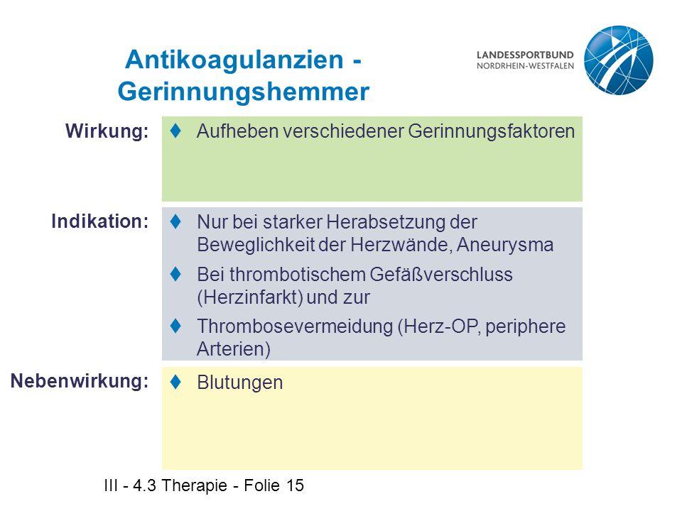 Antikoagulanzien - Gerinnungshemmer