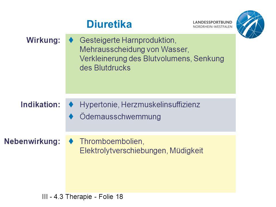 Diuretika Wirkung: Gesteigerte Harnproduktion, Mehrausscheidung von Wasser, Verkleinerung des Blutvolumens, Senkung des Blutdrucks.
