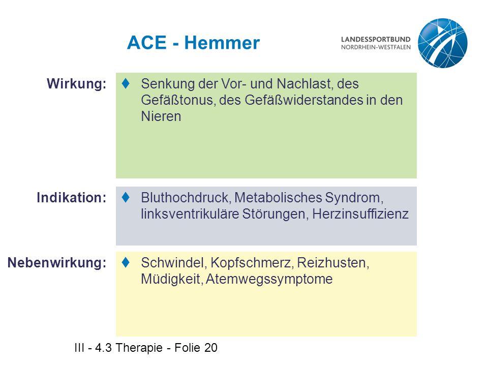ACE - Hemmer Wirkung: Senkung der Vor- und Nachlast, des Gefäßtonus, des Gefäßwiderstandes in den Nieren.
