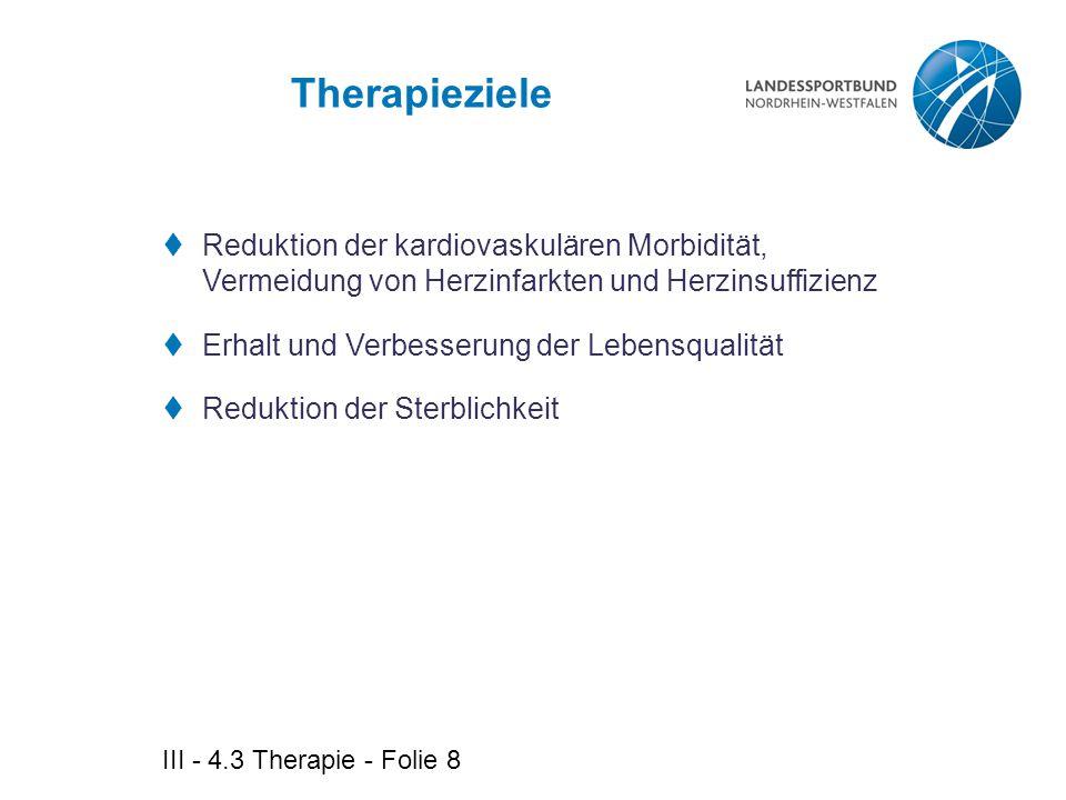 Therapieziele Reduktion der kardiovaskulären Morbidität, Vermeidung von Herzinfarkten und Herzinsuffizienz.