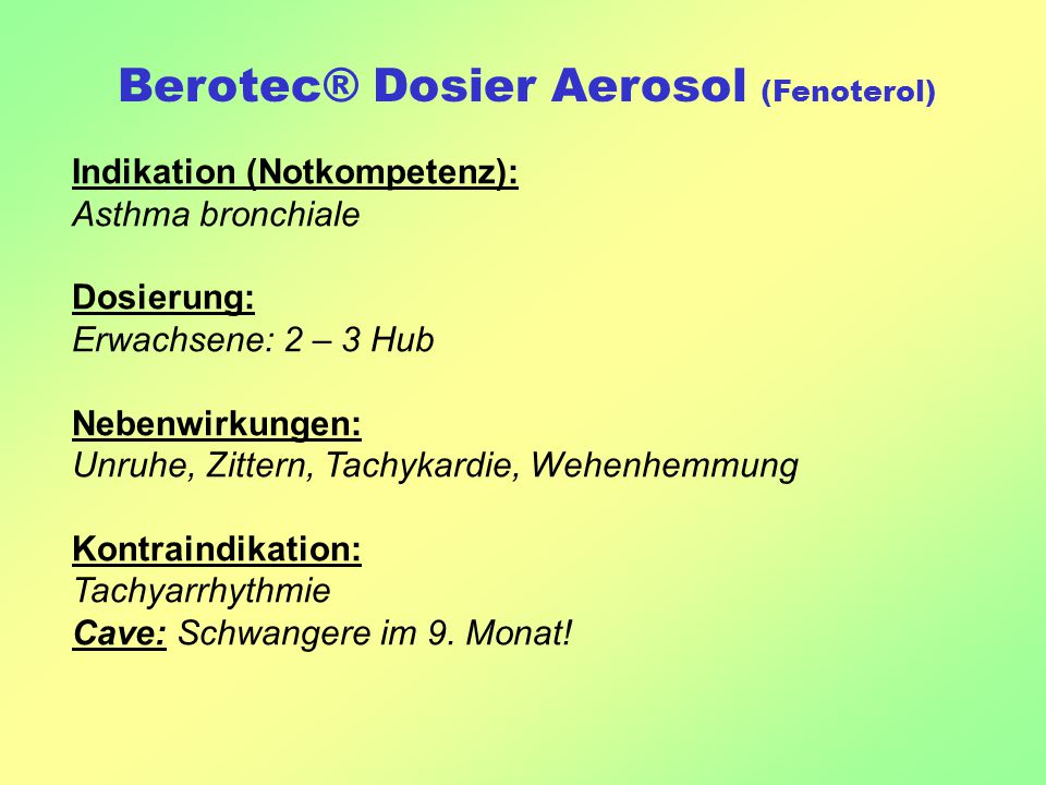 Berotec® Dosier Aerosol (Fenoterol)