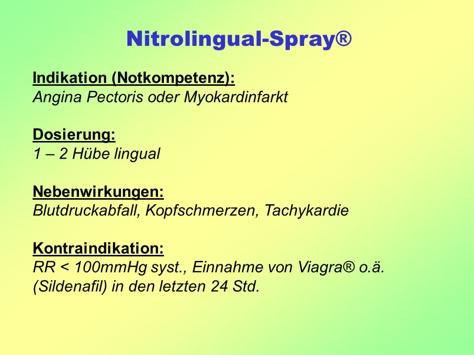 Nitrolingual-Spray® Indikation (Notkompetenz):