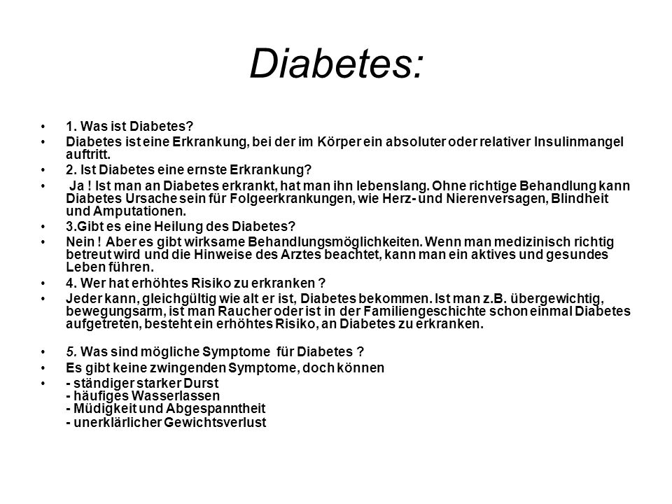 Diabetes: 1. Was ist Diabetes