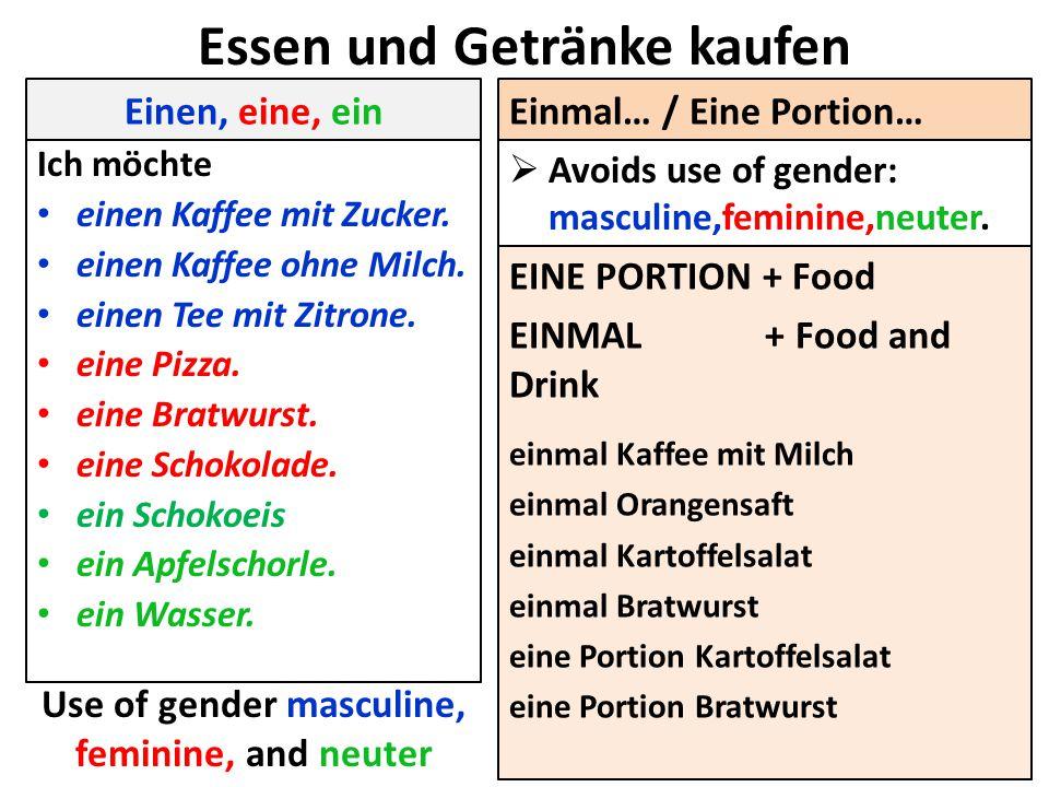 Essen und Getränke kaufen