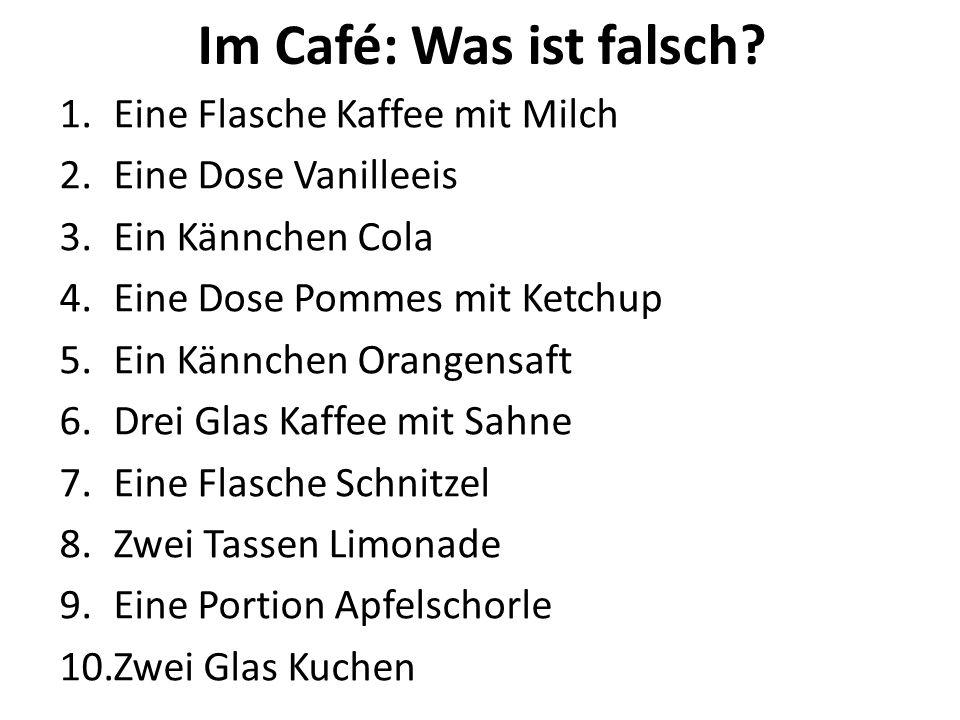Im Café: Was ist falsch Eine Flasche Kaffee mit Milch