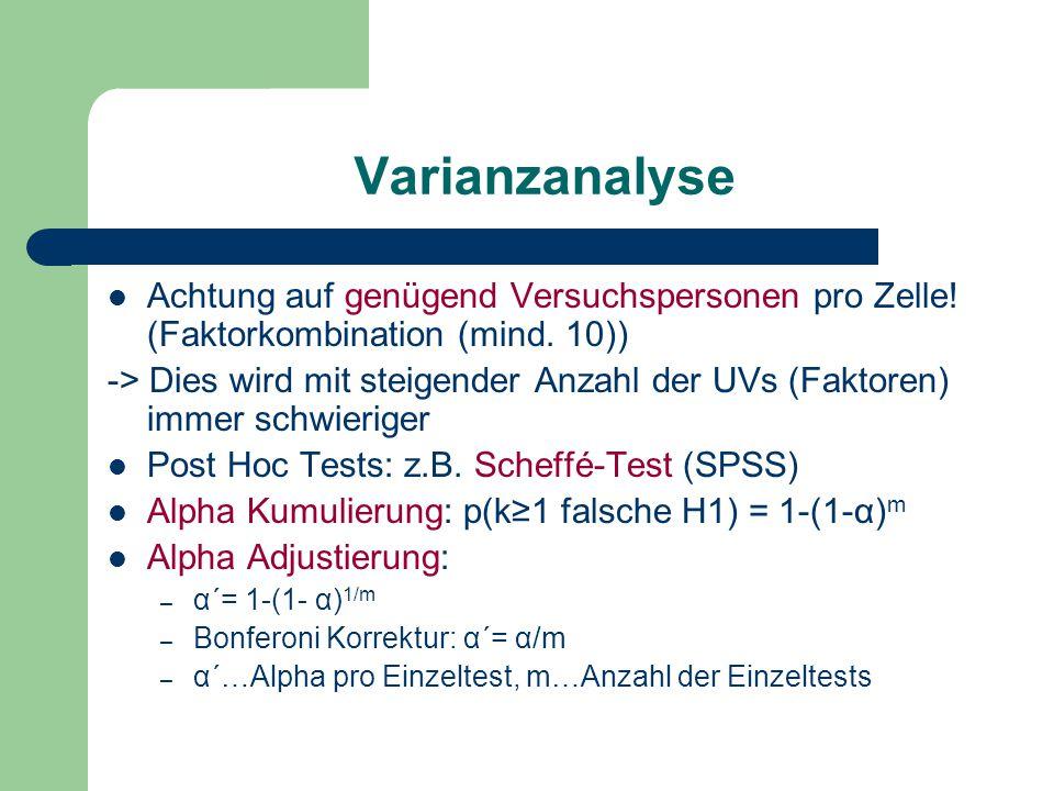 Varianzanalyse Achtung auf genügend Versuchspersonen pro Zelle! (Faktorkombination (mind. 10))