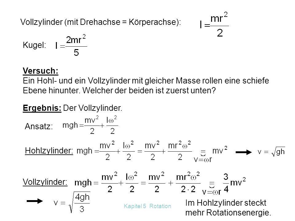 Vollzylinder (mit Drehachse = Körperachse):