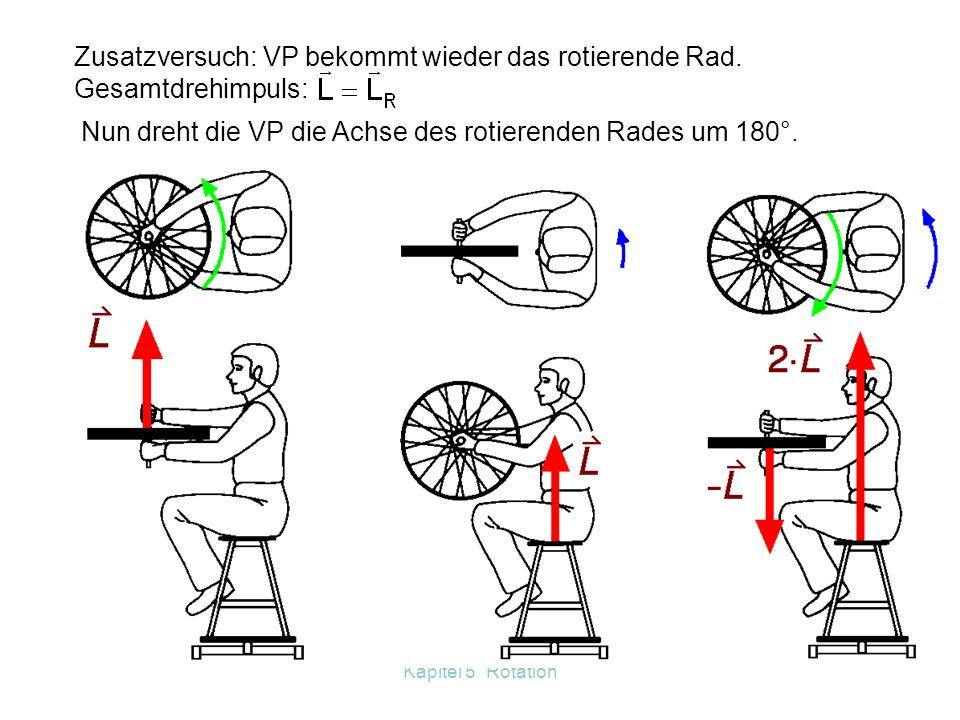Zusatzversuch: VP bekommt wieder das rotierende Rad. Gesamtdrehimpuls: