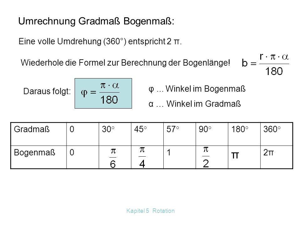 Umrechnung Gradmaß Bogenmaß: