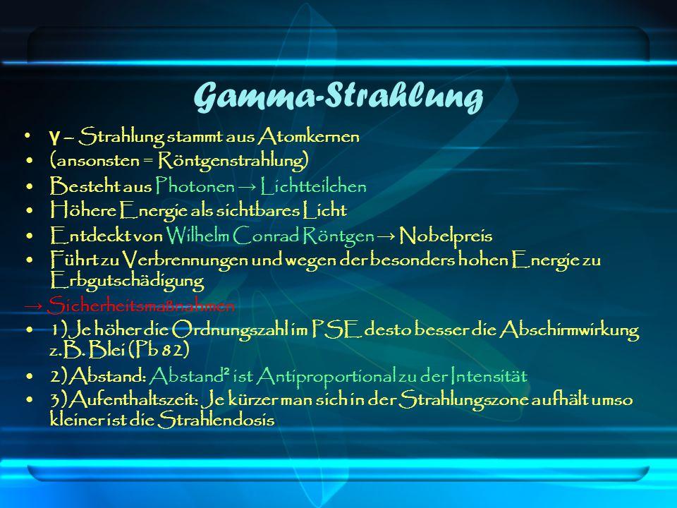Gamma-Strahlung γ – Strahlung stammt aus Atomkernen