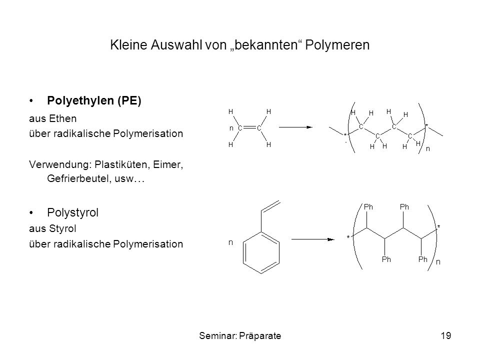 """Kleine Auswahl von """"bekannten Polymeren"""