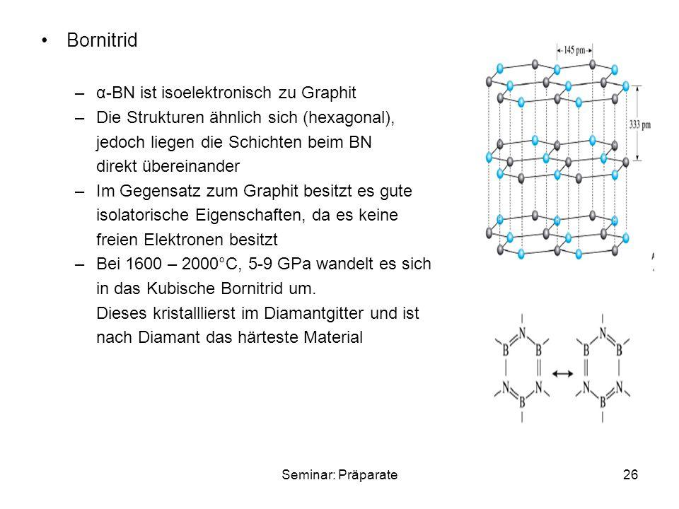 Bornitrid α-BN ist isoelektronisch zu Graphit
