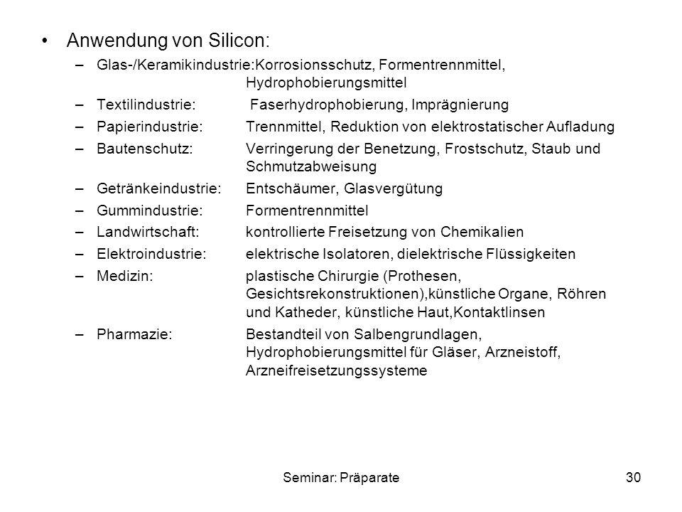 Anwendung von Silicon: