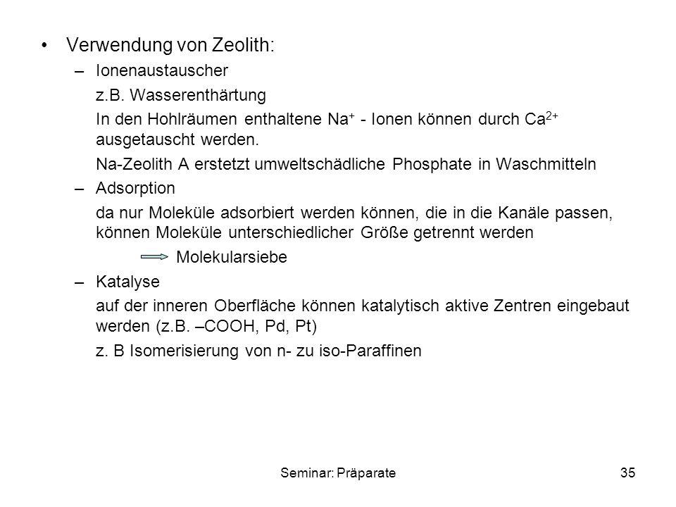 Verwendung von Zeolith: