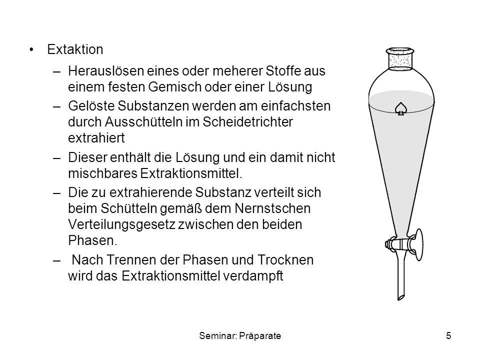 Extaktion Herauslösen eines oder meherer Stoffe aus einem festen Gemisch oder einer Lösung.