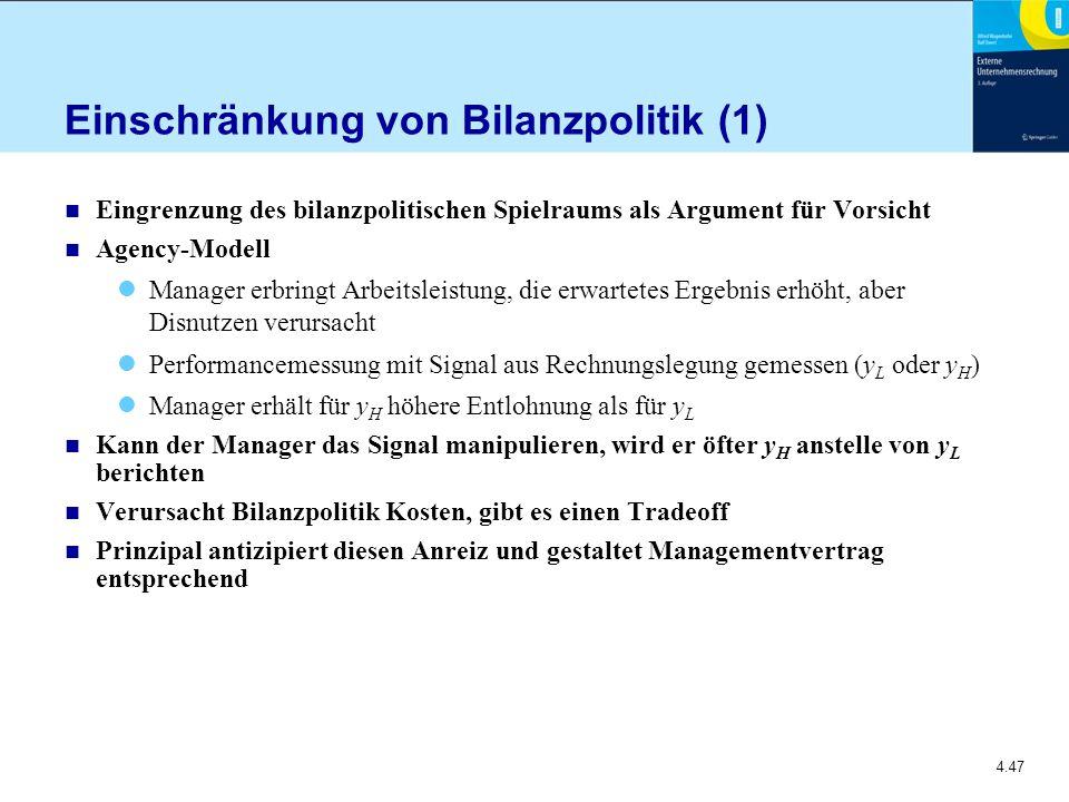 Einschränkung von Bilanzpolitik (1)