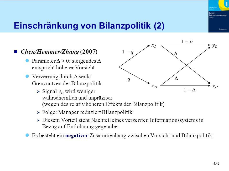 Einschränkung von Bilanzpolitik (2)