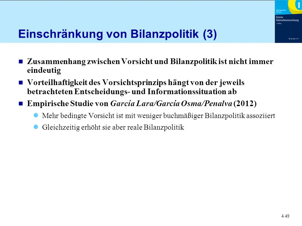 Einschränkung von Bilanzpolitik (3)