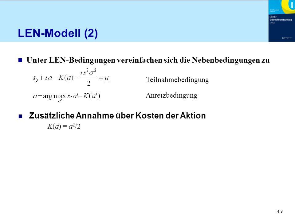 LEN-Modell (2) Unter LEN-Bedingungen vereinfachen sich die Nebenbedingungen zu. Teilnahmebedingung.
