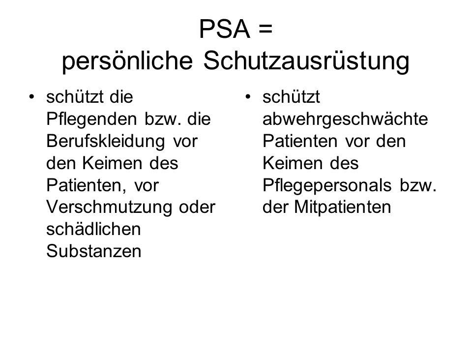 PSA = persönliche Schutzausrüstung