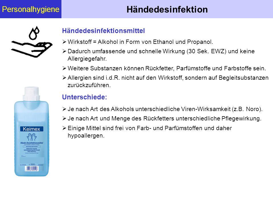 Händedesinfektion Personalhygiene Händedesinfektionsmittel