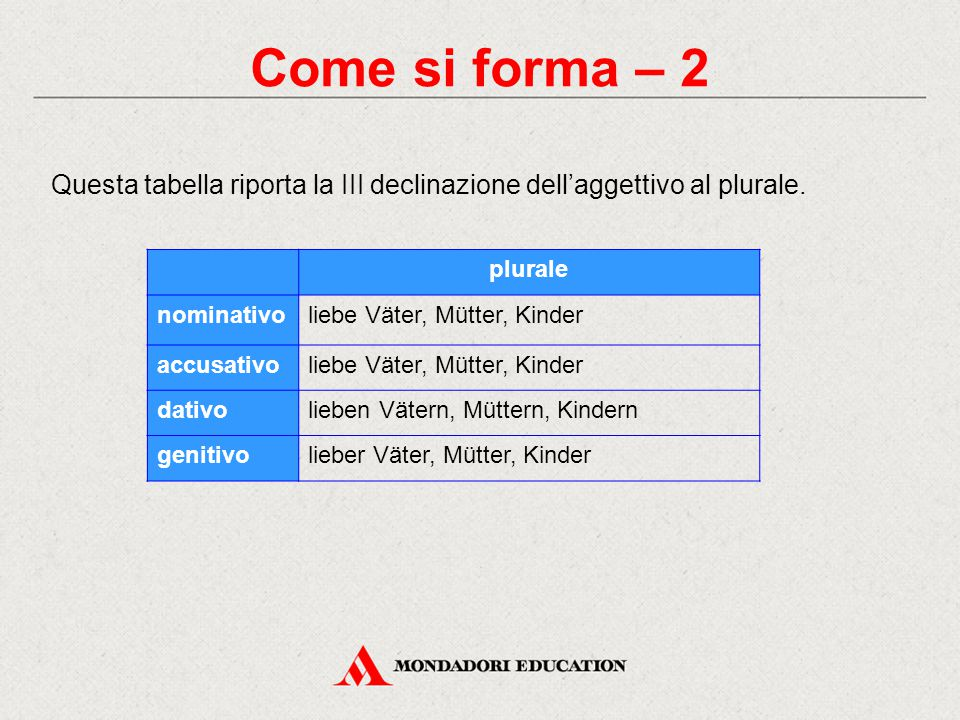 Come si forma – 2 Questa tabella riporta la III declinazione dell'aggettivo al plurale. plurale. nominativo.