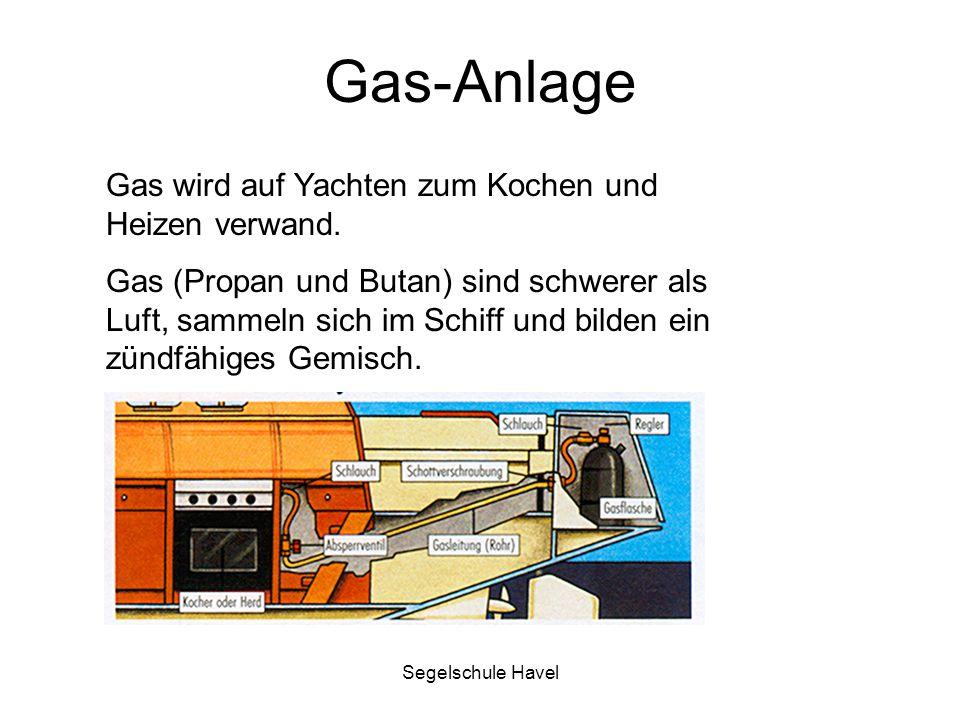 Gas-Anlage Gas wird auf Yachten zum Kochen und Heizen verwand.