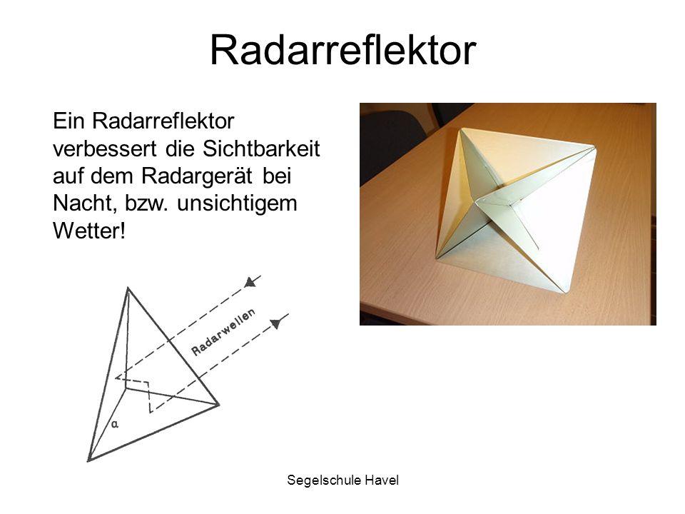 Radarreflektor Ein Radarreflektor verbessert die Sichtbarkeit auf dem Radargerät bei Nacht, bzw. unsichtigem Wetter!