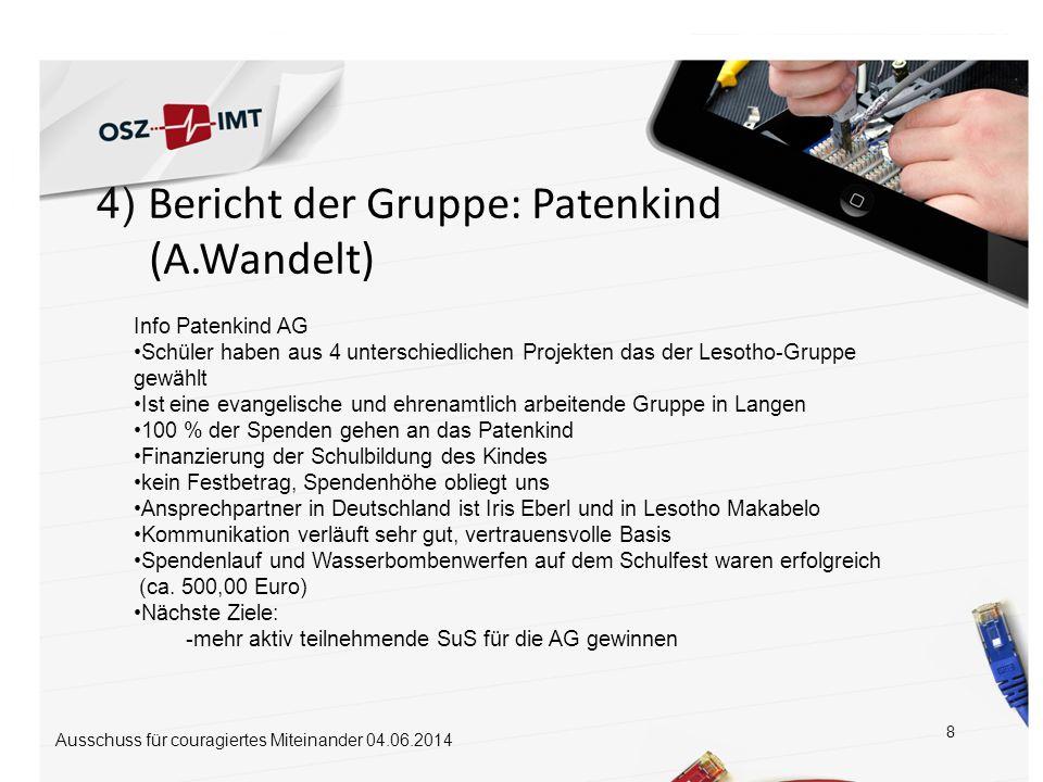 (A.Wandelt) 4) Bericht der Gruppe: Patenkind Info Patenkind AG