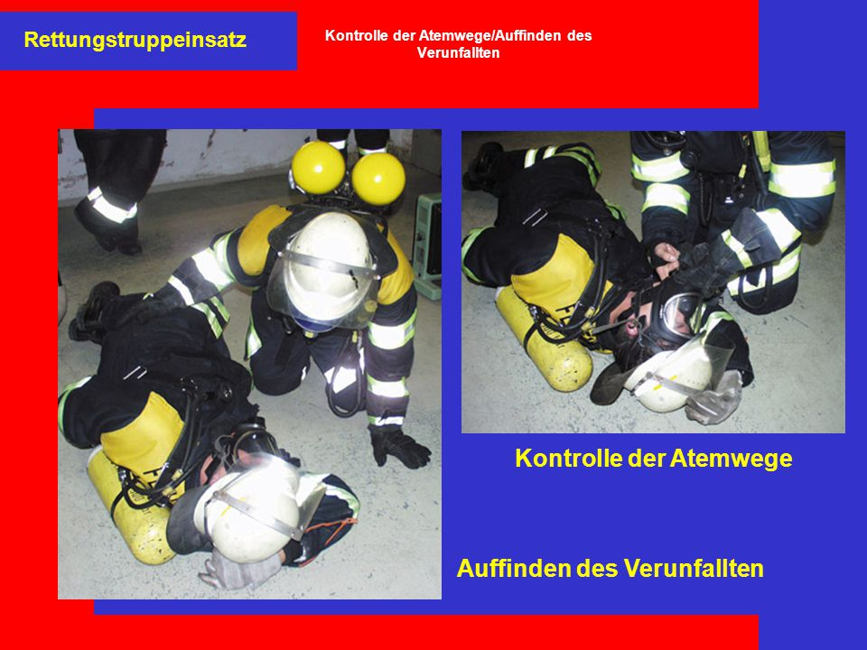 Kontrolle der Atemwege/Auffinden des Verunfallten
