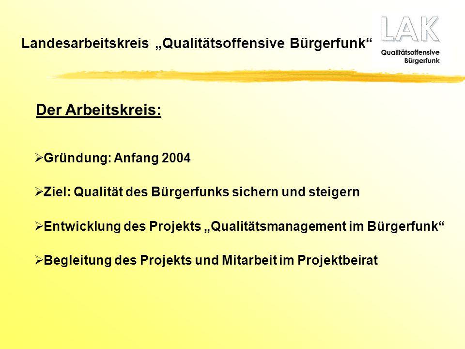 """Der Arbeitskreis: Landesarbeitskreis """"Qualitätsoffensive Bürgerfunk"""