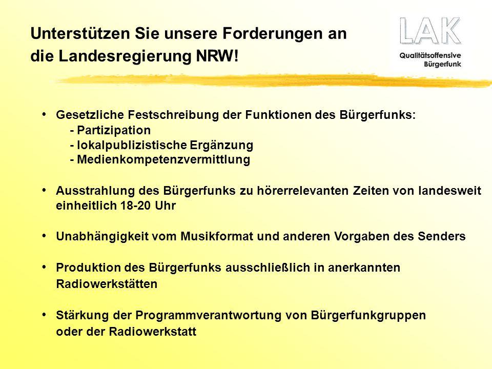 Unterstützen Sie unsere Forderungen an die Landesregierung NRW!