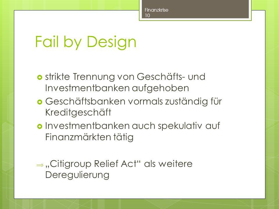 Fail by Design strikte Trennung von Geschäfts- und Investmentbanken aufgehoben. Geschäftsbanken vormals zuständig für Kreditgeschäft.
