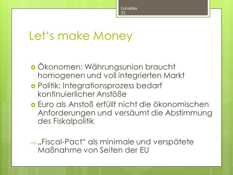 Let's make Money Ökonomen: Währungsunion braucht homogenen und voll integrierten Markt. Politik: Integrationsprozess bedarf kontinuierlicher Anstöße.