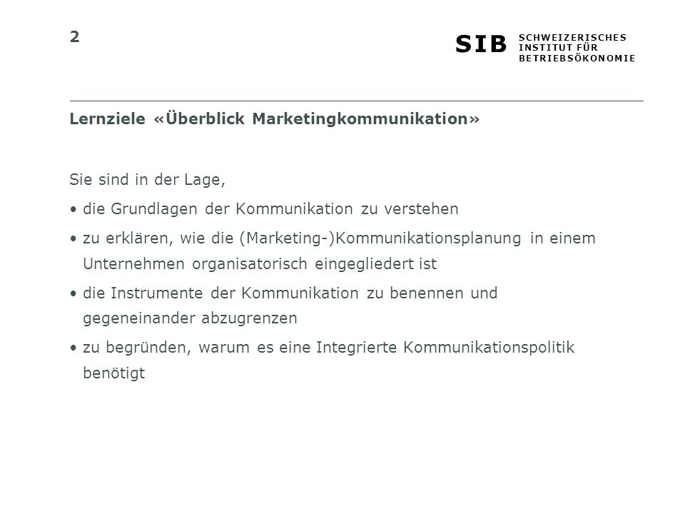 Lernziele «Überblick Marketingkommunikation»