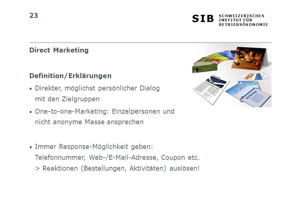 Direct Marketing Definition/Erklärungen. Direkter, möglichst persönlicher Dialog mit den Zielgruppen.