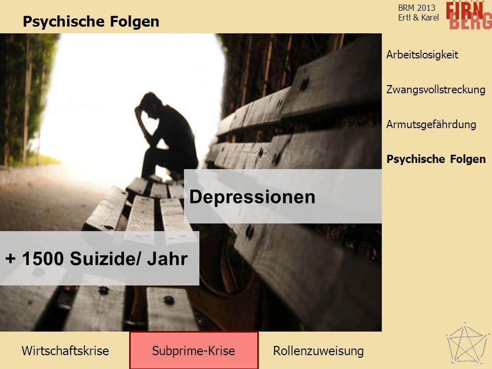Depressionen + 1500 Suizide/ Jahr Psychische Folgen Subprime-Krise