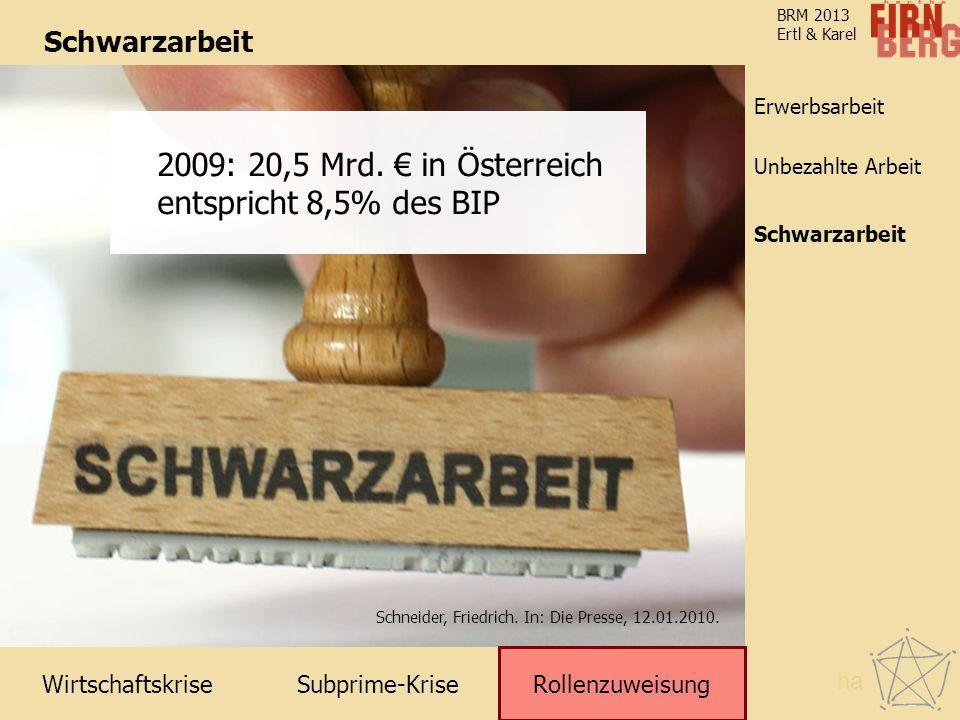 2009: 20,5 Mrd. € in Österreich entspricht 8,5% des BIP Schwarzarbeit