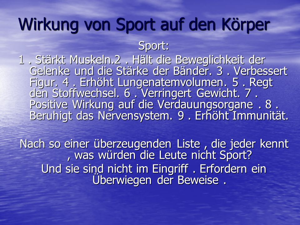Wirkung von Sport auf den Körper