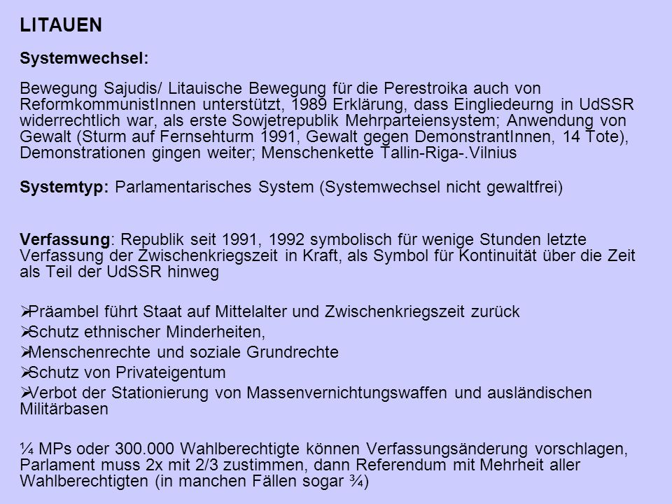 LITAUEN Systemwechsel: