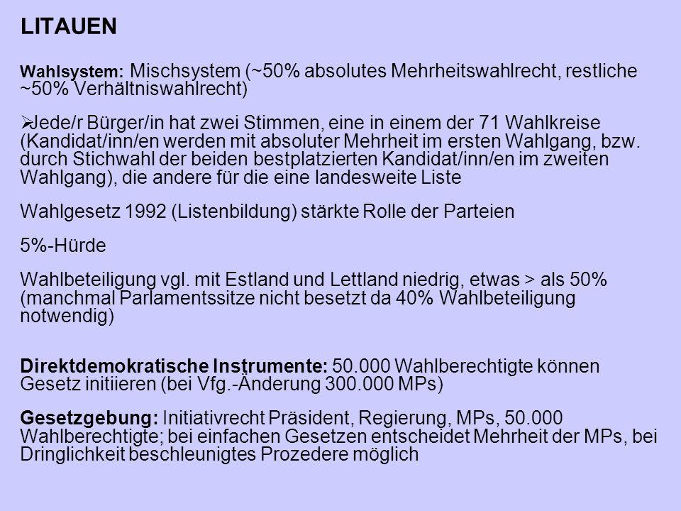LITAUEN Wahlsystem: Mischsystem (~50% absolutes Mehrheitswahlrecht, restliche ~50% Verhältniswahlrecht)