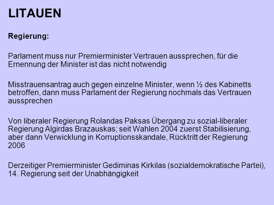 LITAUEN Regierung: Parlament muss nur Premierminister Vertrauen aussprechen, für die Ernennung der Minister ist das nicht notwendig.