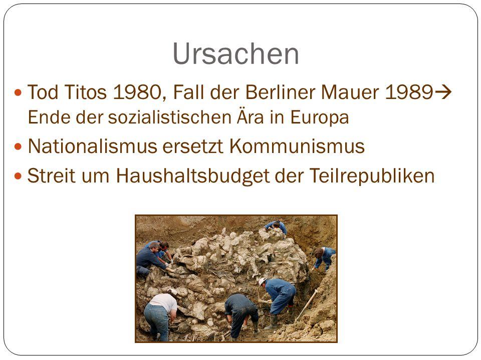 Ursachen Tod Titos 1980, Fall der Berliner Mauer 1989 Ende der sozialistischen Ära in Europa. Nationalismus ersetzt Kommunismus.