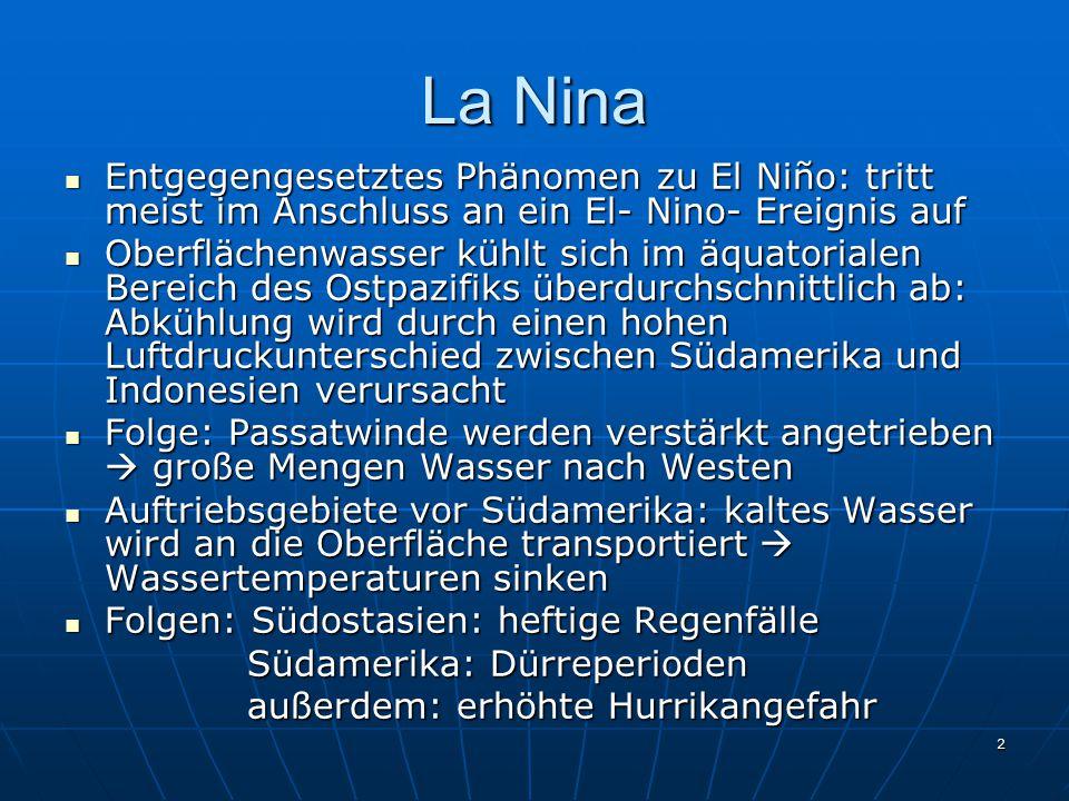 La Nina Entgegengesetztes Phänomen zu El Niño: tritt meist im Anschluss an ein El- Nino- Ereignis auf.