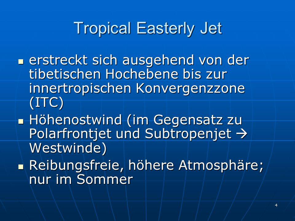 Tropical Easterly Jet erstreckt sich ausgehend von der tibetischen Hochebene bis zur innertropischen Konvergenzzone (ITC)