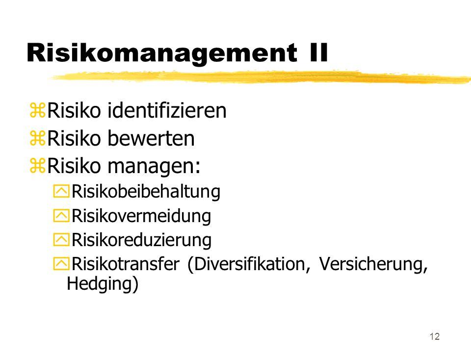 Risikomanagement II Risiko identifizieren Risiko bewerten