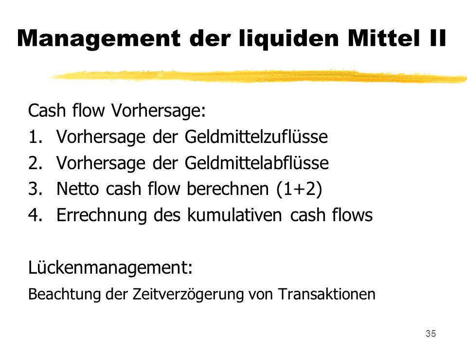 Management der liquiden Mittel II